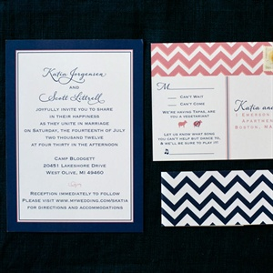 Navy and Coral Chevron Invitations