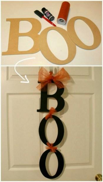 diy decor for halloween boo sign for door