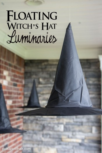 diy decor for halloween floating withes hat luminaries