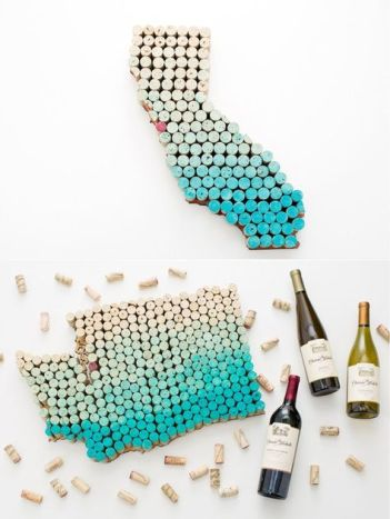 State Wall Art WIne Cork Crafts DIY projects. Where are all my fellow wine lovers at?! This is amazing! I love this craft idea. Turn wine corks into awesome DIY crafts, home decor and gift ideas. This is so cool! I love it! Perfect for wine lovers! Pinning for later!