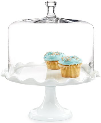 "Holiday Gift Guide 2017"" for the home baker. Essential tools for baking. Martha Stewart glass ruffled cake stand with glass dome. It can be so difficult to shop for a home baker and I don't know where to start. But this guide is perfect! These tools and gift ideas are amazing! I love the cute necklace to the stand mixer gifts! They all work for someone who loves to bake! Saving for later!"
