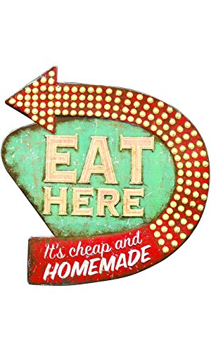 Holiday Gift Guide 2017 for the home cook under $50. retro eat here sign. This holiday shopping list is amazing! I think this post is so helpful for staying on a budget. Often times cooking gifts are so expensive but these are so useful for the kitchen and under budget. This is for the home cooks! Love it!