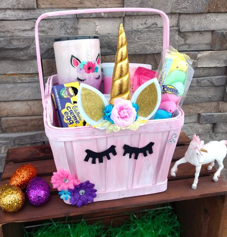 16 diy easter basket ideas that will have you hoppin xo katie unicorn easter basket negle Gallery