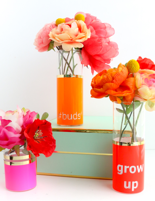DIY Neon Typography Bud Vase. I Love Making DIY Crafts For My Home! Spring  Has So Many Beautiful Colors And