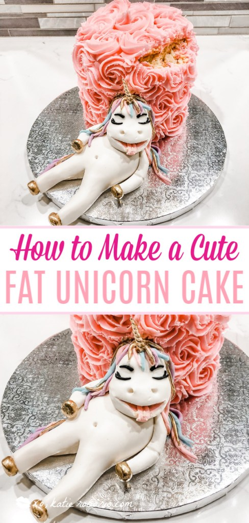 This Unicorn Cake is perfect for any celebration, birthday or just because it's Friday! Learn how to make this unicorn cake easily at home. Use these cake decorating tips and tricks to create your own fat unicorn cake. This fondant unicorn is laying upon a vanilla buttercream cake that is hand piped with rosettes. #xokatierosario #cakedecoratingtutorial #unicorncake #easyunicorncake