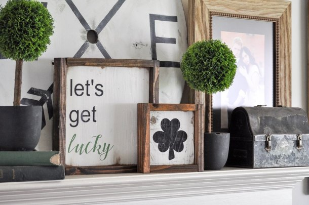 St. Patrick's Day Signs | These adorable St. Patrick's Day decorations are perfect for a weekend of celebrating the lucky holiday. These DIY decorations will fit a great with your farmhouse rustic home decor while being festive at the same time! Choose from St. Patrick's inspired tablescapes, DIY signs, shamrock garlands or mini banners that work in desserts and centerpieces! #xokatierosario #stpatrickdaydecor #stpatricksdaydiycrafts #farmhousehomedecor