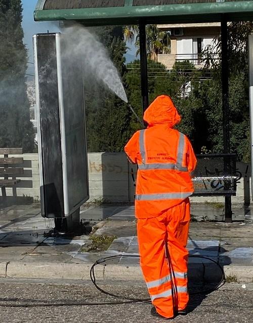 Συνεχίζεται η εκτεταμένη προληπτική απολύμανση, από την υπηρεσία καθαριότητας του Δήμου Παπάγου – Χολαργού