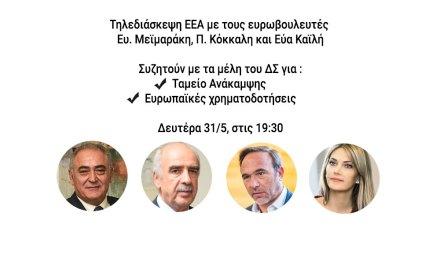 Οι ευρωβουλευτές Ευ. Μεϊμαράκης, Π. Κόκκαλης και Εύα Καϊλή συνομιλούν με τα μέλη του Δ.Σ. του Ε.Ε.Α. για Ταμείο Ανάκαμψης και ευρωπαϊκές χρηματοδοτήσεις