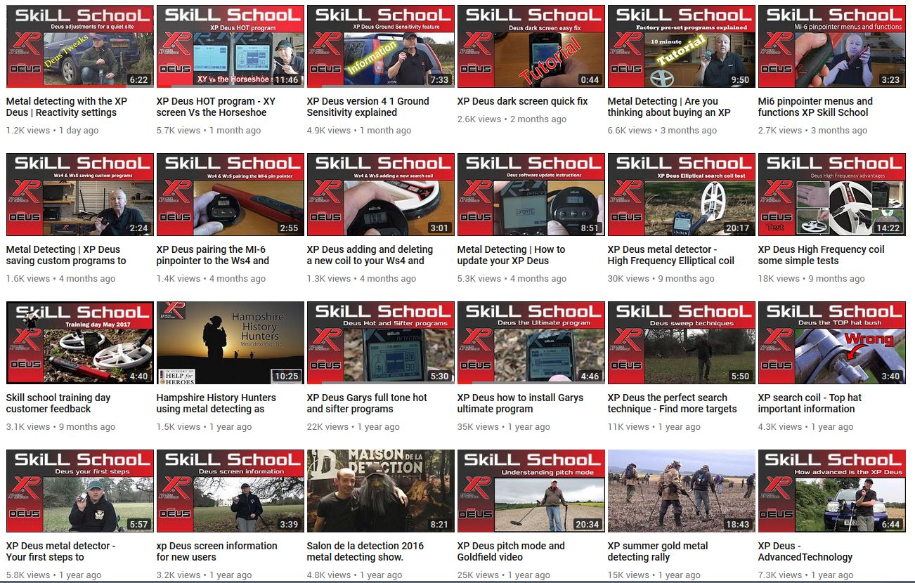 XP Deus help videos all in one place ! The XP Skill School