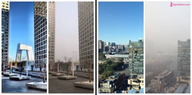One day with a high pollution and another has beautiful blue sky. The left photo- the CCTV building, the right photo is the view from my house | Click to enlarge