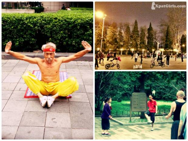 Doing exercise at the street and the park (Kungfu, Folk dancing, Badminton)