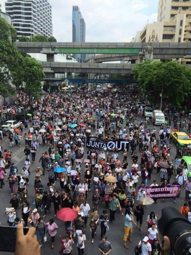 Anti-Coup Protestors take to the streets in Bangkok's central shopping district, closing off streets