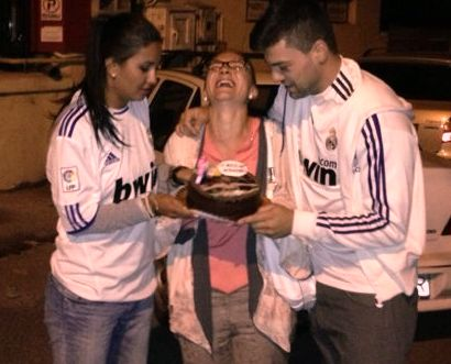 My best friend and her boyfriend dressed in Real Madrid shirts..Brought me a Cristiano Ronaldo B-day cake!!!