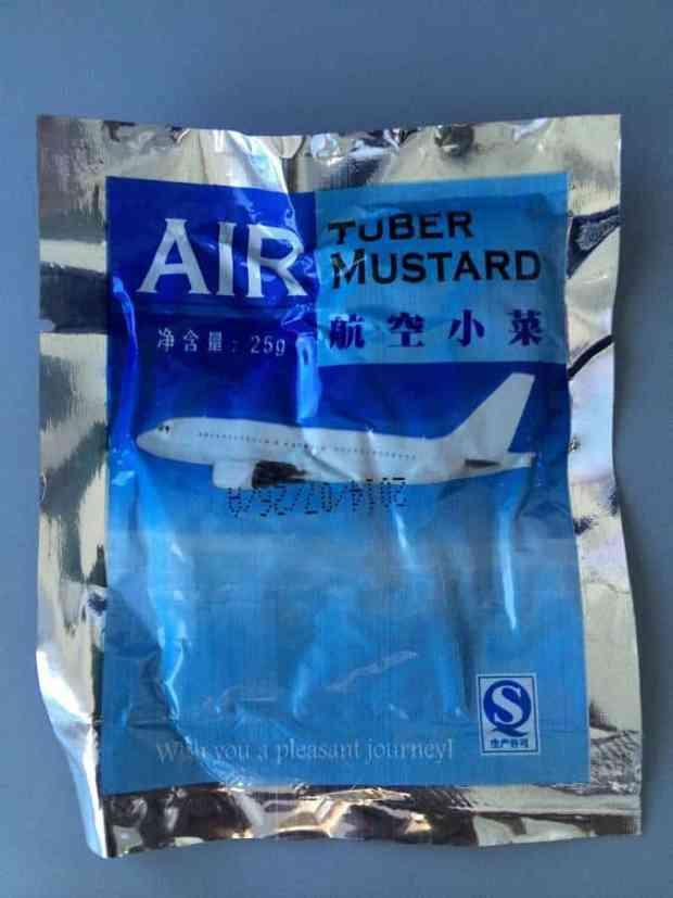 weird snack sauce on the plane