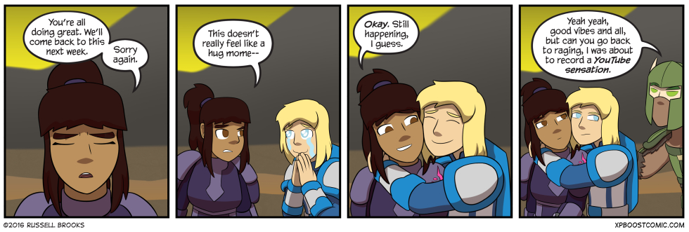 "Alternate line in panel 4: ""And then they kiss?"""