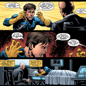 Scott returns to the X-mansion, understandably distraught. X decides the most expedient course of action is to totally wipe Gabriel out of Scott's memory. Did I mention that Professor X is a dick? Professor X is a dick. When the new X-Men return to Krakoa to rescue the original team, he continues to mess with their perceptions to support this version of events.