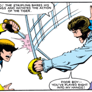 Mostly here for the hat detail, which is pretty clever; and the tiger line, which is not. (X-Men #133)
