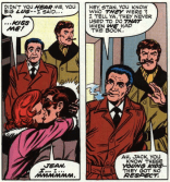 In the Silver Age, superhero romance was limited to soulful gazes and ongoing sexual harassment. (X-Men #98)