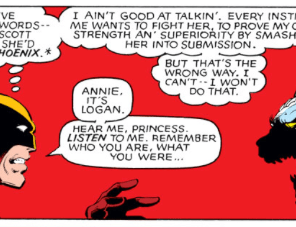 Wolverine reaffirming his humanity by helping other characters find theirs remains a running motif. (X-Men #140)