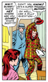 Zelda's original line, from X-Men #7 (she was originally a redhead)...