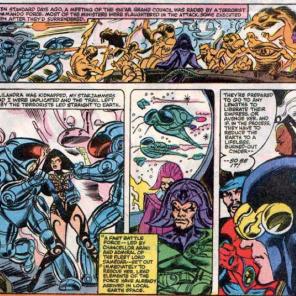 Corsair does a lot of X-Plaining this issue. (Uncanny X-Men #154)
