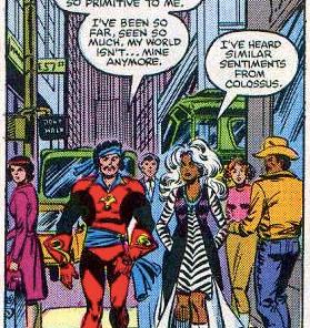 The lady in the fuchsia coat is hardcore judging you, Corsair. (Uncanny X-Men #155)