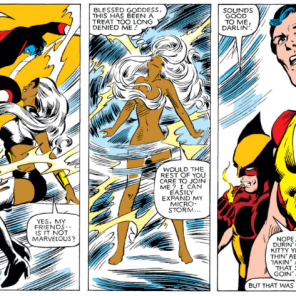 "If there were a drinking game, ""Storm spontaneously takes a shower indoors"" would be on the list. (X-Men #160)"
