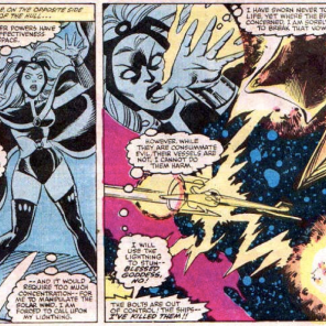 Including this just for the dozen people who have written us to ask if Storm's powers work in space (also covered in the Phoenix Saga, incidentally). (X-Men #164)