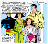 Mostly in here to point out that Kitty's impending death has not cooled her affection for the Shi'ar fashion machines. (X-Men #166)
