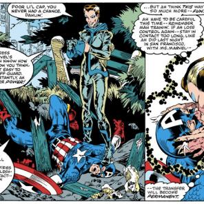 Rogue's default villain M.O. was really, really creepy. (Avengers Annual #10)