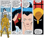 Wolverine and Mariko: dealing with relationship issues like grown-ups. We choose to believe that wearing a mask that looks like your hair is a prerogative of adulthood. (X-Men #176)