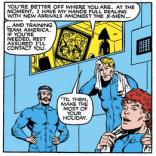 Just in case you've forgotten, Team America is--inexplicably--still around. (New Mutants #8)