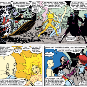Moments when the Hellfire Club and the X-Men just really want to not talk about this and go back to whatever they were doing are pretty much the best X-Men/Hellfire Club moments. (Uncanny X-Men #189)
