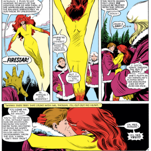 Firestar's first comic-book appearance. We'd like to tell you it goes uphill from here, but, no. (X-Men #193)