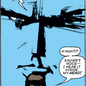 GIANT BLUE XAVIER HEAD! (With some paradoxically good advice, but still. GIANT BLUE XAVIER HEAD!) (New Mutants #25)