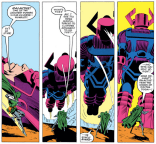 """""""Damn,"""" thinks Doom, """"If I could do that, those jerky heroes would NEVER have offered to help me up."""" (Secret Wars #2)"""