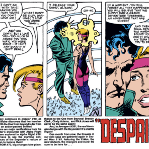 "There is literally no romantic or sexual relationship in this series that is okay by any reasonable definition. Also note that AMAZING block of ""next issue"" text. (Secret Wars II #4)"