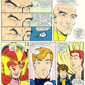 SUPER not cool, Xavier. Also: Remember when Scott's eyes were blue like five pages ago? 'CAUSE THE COLORIST DOESN'T! *rimshot* (X-Men/Alpha Flight vol. 1, #1)