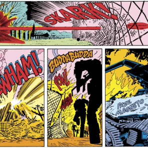 I don't think we talked about it in the episode, but this issue has the best damn sound effects. Seriously, I'm just gonna post a bunch of these, because they are great, and the lettering is aces. (Uncanny X-Men #200)