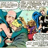 Moondragon, Cloud, Gargoyle, and Valkyrie demonstrate the kind of high drama and subtext that makes three ex-X-Men feel right at home. (Defenders #127)