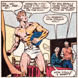 Sneaking in the window, in his underwear (costume, but STILL), carrying an interdimensional projector: kind of the perfect Bobby Drake moment, no? (Iceman #2)