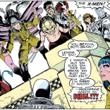 These costumes are not okay, but Magneto's is 100% less okay than any of the others. (Note: in other panels, the arm band is generally colored red.) (X-Men Annual #10)