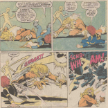 It really does kind of cheapen Sabretooth's menace when a bunch of kids can take him down--even these kids. (Power Pack #27)