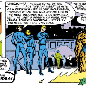 The first appearance of Karma's codename. (Marvel Team-Up #100)