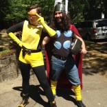 Because she is AWESOME, Kes decided that she wanted a party with all her kid friends and all her grown-up friends as superheroes. Here's Rachel as slightly off-brand O5 Cyclops, and Miles as DIY Thor.