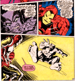 A visually striking panel of Iron Man flirting with the Beast. (Amazing Adventure #12)