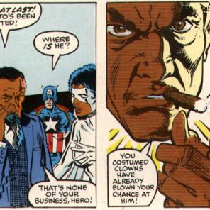 Oh, generic Government Man. Never change. (X-Men vs. Avengers #4)