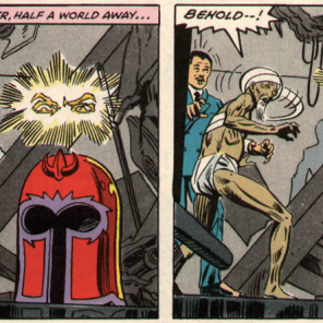 In the original draft of this issue, Magneto's helmet turned blue and was eaten by Pac Man. (X-Men vs. Avengers #4)