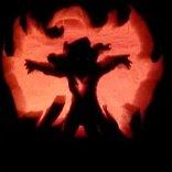 A Phoenix jack-o'-lantern where the firebird aura is actual fire? Yes, please, @eisoj5!