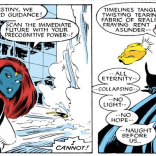 Destiny wrestles with the awareness that she's trapped in a crossover event. (Uncanny X-Men #225)